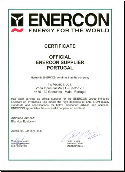 CERTIFICATE OFFICIAL ENERCON SUPPLIER