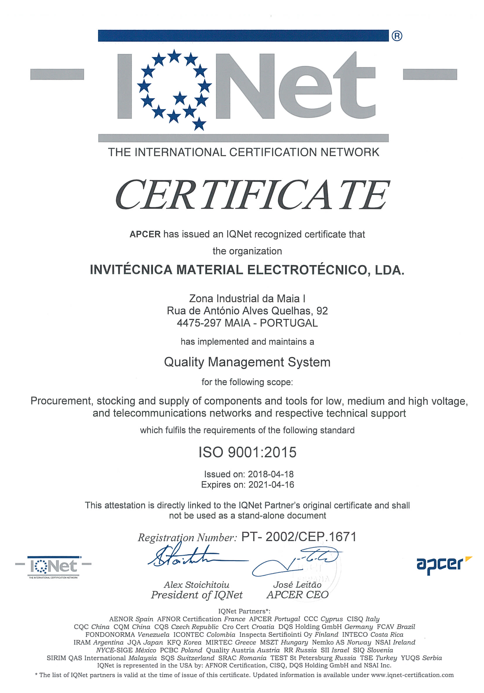 CERTIFICATE OF QUALITY MANAGEMENT SYSTEM - IQNET - ISO 9001-2015